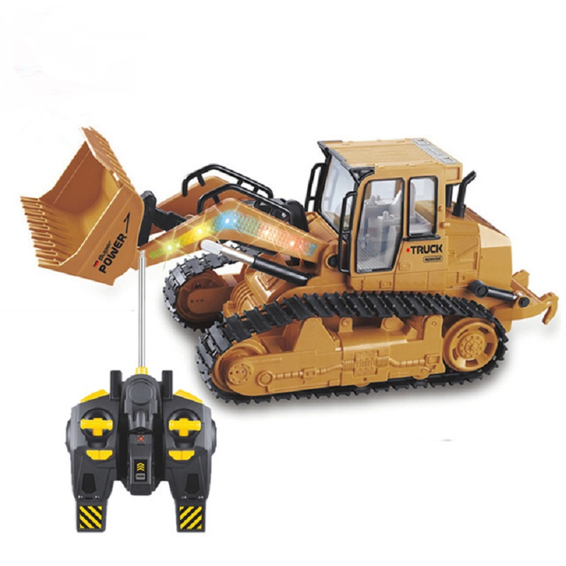 RC Truck 6CH Bulldozer Caterpillar Tractor Remote Control Simulation Construction Vehicle Electronic Toys Game Hobby Model