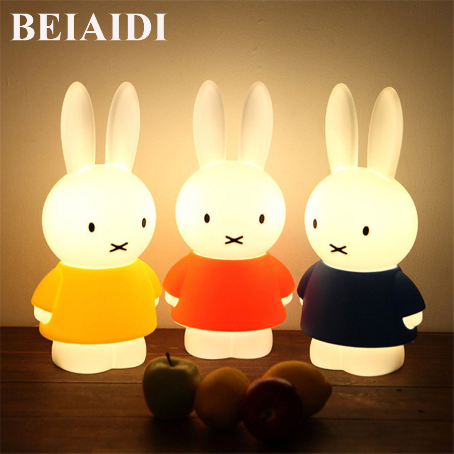 BEIAIDI Rabbit LED Night light 45CM Dimmable Night Lamp Gift For Christmas Birthday Animal Cartoon Decor Bedside Bedroom Light creative smart rabbit alarm clock lamp light rabbit shaped led music sound controlled night light for indoor decor drop shipping