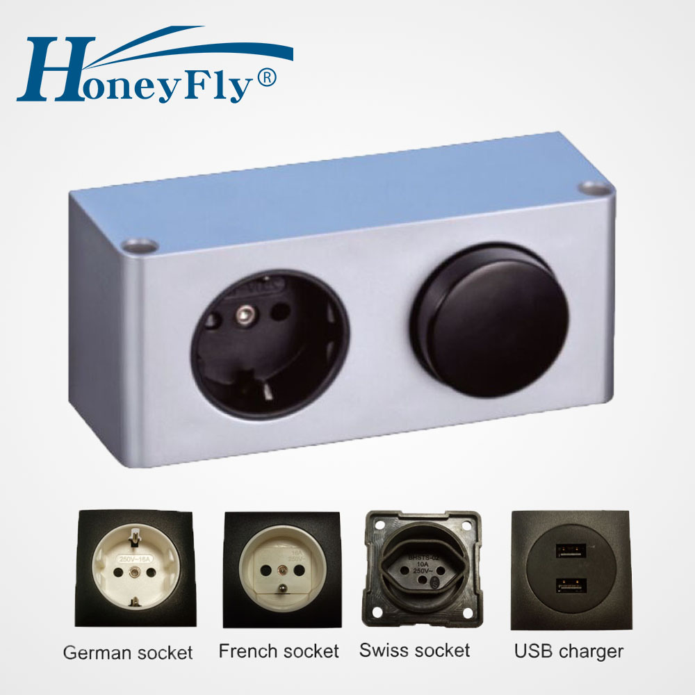 HoneyFlyPatented LED Power Box 20W 220V to 12V DC IP20 Switch Box Sockets USB Charger Built-in LED Driver Kitchen Cabinet Mutfak