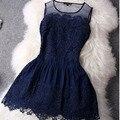 Hzlq4465 2016 grande costura lace dress vestido sem mangas vestidos de noite mini sexy women summer dress