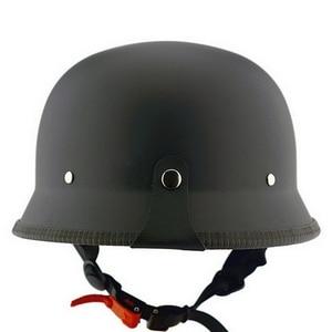 Image 3 - Unisex Retroครึ่งMotoรีไซเคิลหมวกกันน็อกMatteสีดำเยอรมันหมวกกันน็อกครึ่งหน้าChopper Cruiser Biker M/L/XL casque Moto