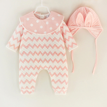 Фотография New Fashion Newborn Cotton Romper With Cap Kids Toddler Printed Long Sleeve Stripe Single Breasted Infant Baby Clothing Sets