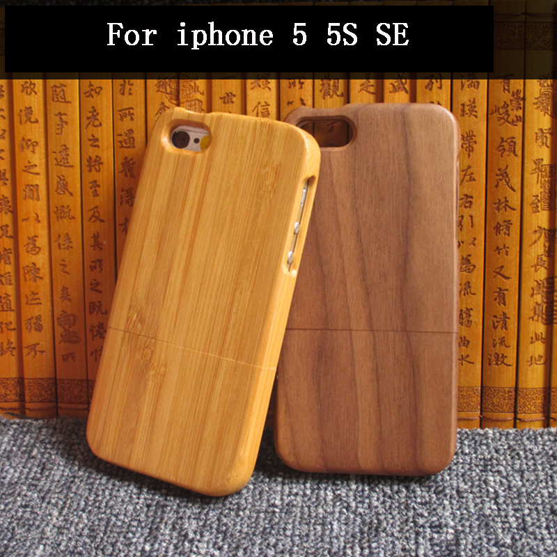 2017 luxury For Apple <font><b>iphone</b></font> 5 5S SE case, qimei Natural bamboo and wood shell back cover case for iphone5/iphone5S/iphoneSE
