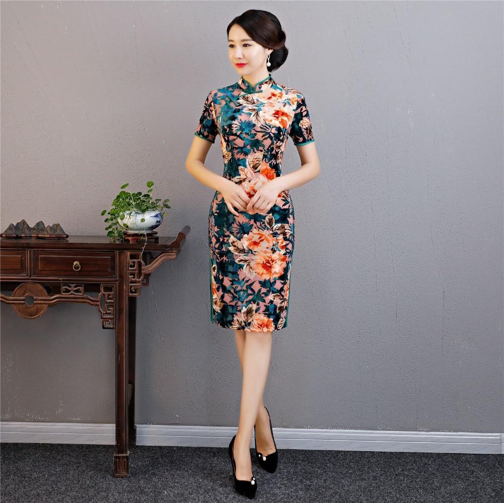 92b357c26764 Qipao Seta Cinese Del Floreale Abiti Stile Faux Story Di Donne 16 2019 17 Cheongsam  Shanghai Per Le Vestito Tradizionale Oriental bYfyv76g