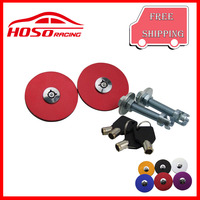 Engine Bonnet Red Hood Pin Lock With Key For HONDA TOYOTA MAZDA NISSAN FORD CHEVY