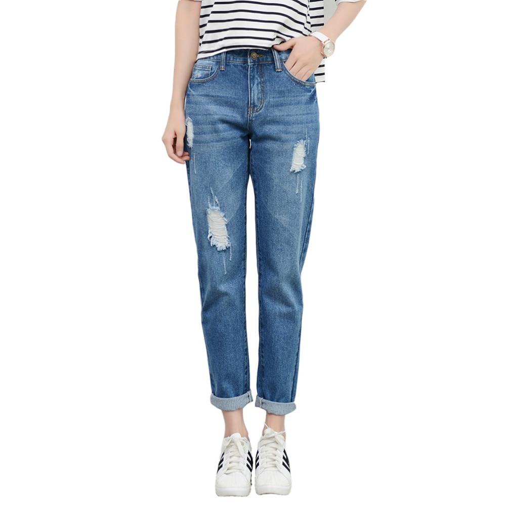 Tengo Nouvelle Mode Femmes Taille Haute Jeans Boyfriend Marque Femelle  Sarouel Femmes Casual Jeans Jeans Déchirés pour les Femmes Plus taille dans  Jeans de