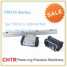 CHTR linear guideways for sewing machine (1pc TRH15 L500mm Linear Rail+2pcs TRH15A Flange Blocks)