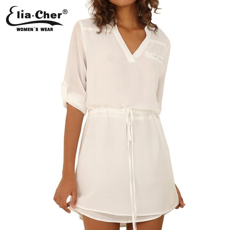 Mujeres marca de moda elegante blanco de la gasa dress 2017 eliacher dress plus