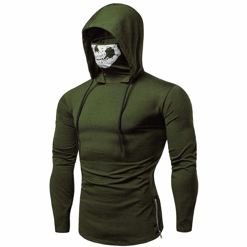 Chamsgend HOT 2018 ใหม่ฤดูหนาวผู้ชายเสื้อแฟชั่นสี hooded เสื้อแขนยาว Mask Skull Splicing Pullover #40 *