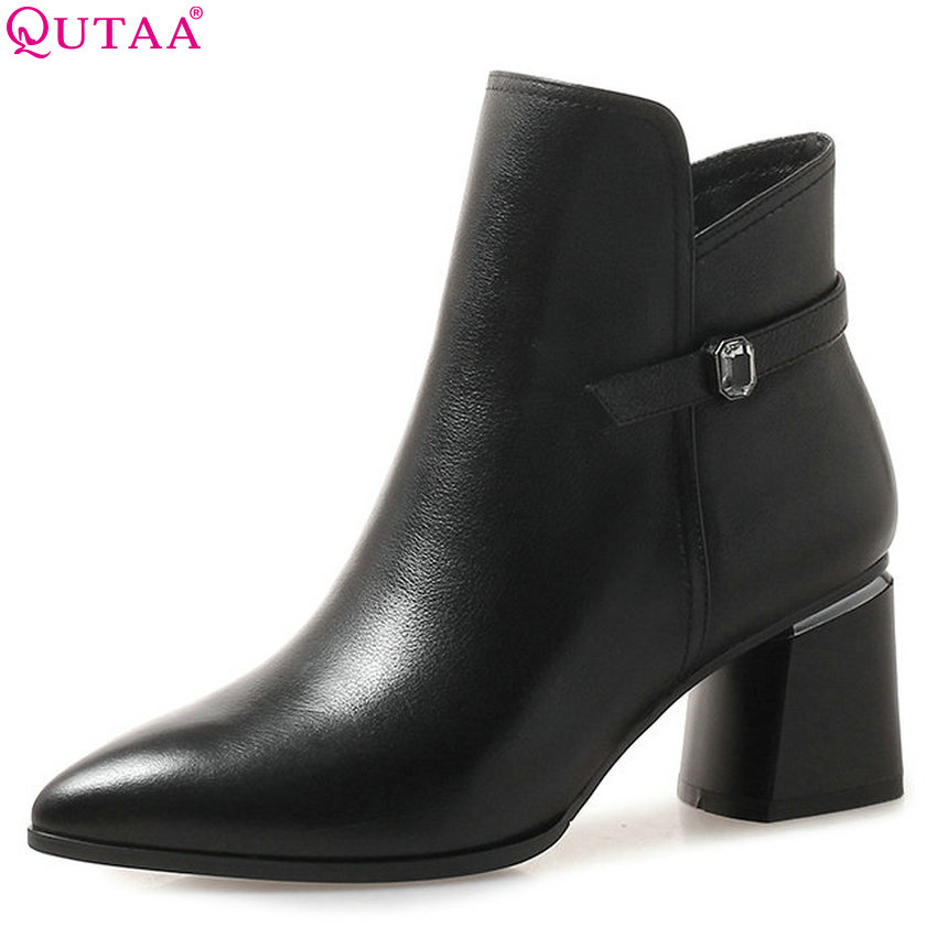 QUTAA 2019 Women Ankle Boots Platform Square High Heel Pointed Toe Black Cow Leather +pu Winter Shoes Women Boots Big Size 34-42 qutaa 2018 black women ankle boots square high heel pointed toe genuine leather fashion zipper women motorcycle boots size 34 42