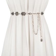 Модный металлический пояс-цепочка для женщин, декоративные винтажные цветочные аксессуары для платьев, ремни ceinture femme, тонкий ремень