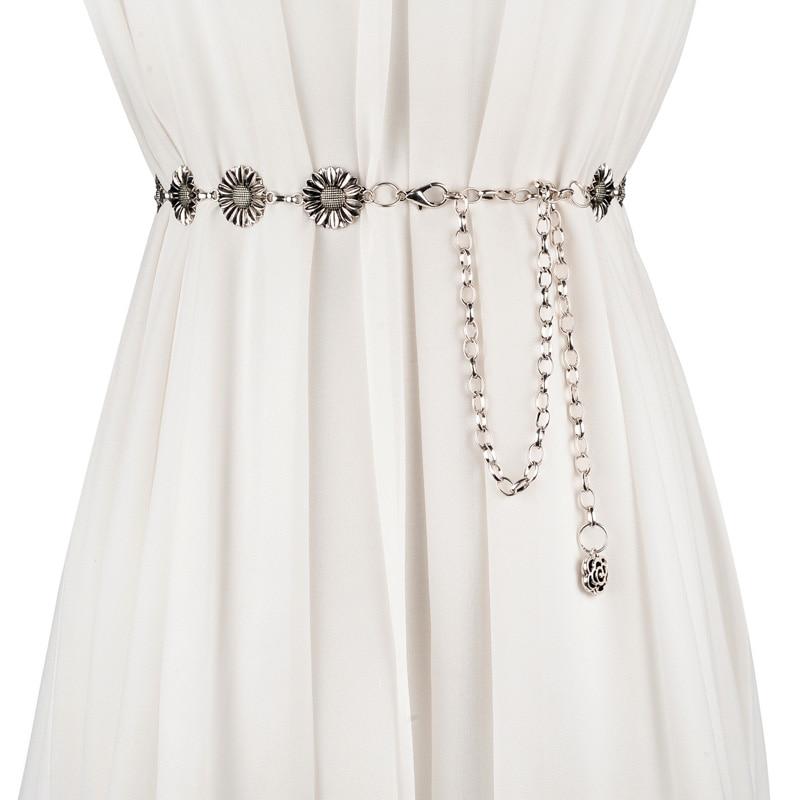 Fashion Metal waist chain Belt for women Decorative vintage floral accessories for dress belts ceinture femme thin belt