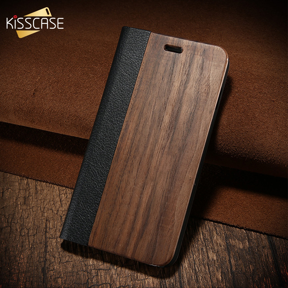KISSCASE Bamboo Flip Phone Case For iPhone 5s Se 6 6s Wood Protector Cover For iPhone 7 8 Plus X XR XS Max Card Wallet Covers