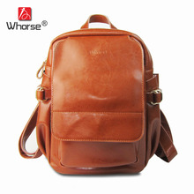 [WHORSE] Brand Vintage 2017 cow genuine leather backpacks for women big capacity Exquisite Crafts Oil wax leather high W0787