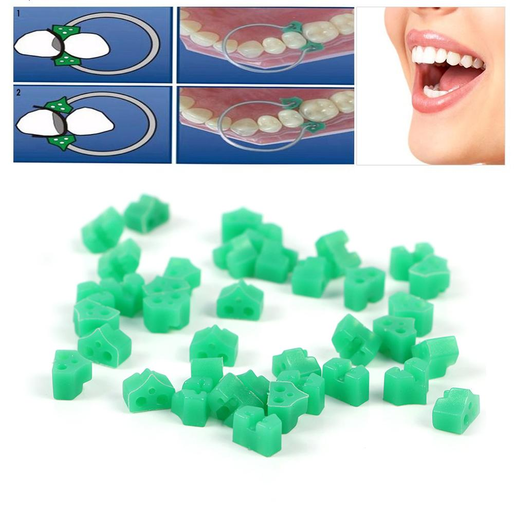 40 Pcs/Set Silicone Green Sectional Contoured Wedges Dental Add-On Wedges For Teeth Filling Dental Matrices Wedges For Teeth