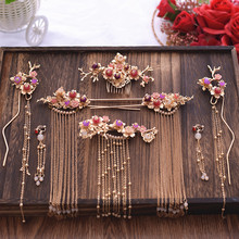 Luxury Chinese pearl costume hair sticks comb earrings bride tiara sets wedding brides hair accessories цена 2017