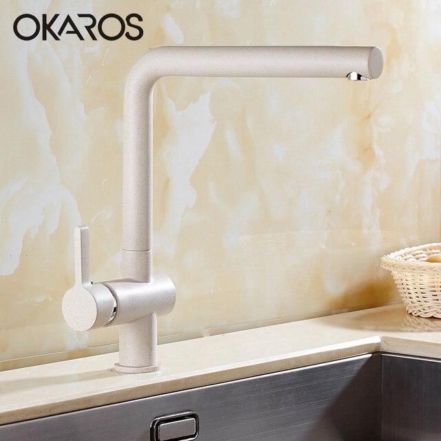 OKAROS Küchenarmatur Spültischarmatur Elegante Beige Bemalte Wand Montiert  Filter Saver Mischbatterie Abnehmbare Wasserhahn Torneira