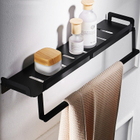 Punch free black bathroom single shelf bathroom 304 stainless steel towel rack kitchen storage rack wall hanging LO591054