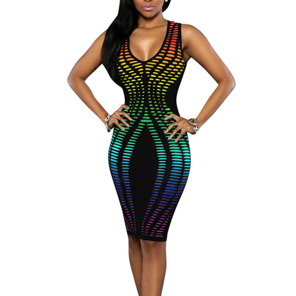 Printed V Dresses Bodycon Letters Sleeveless Neck quick delivery outfits
