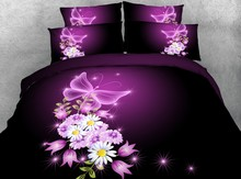 3D Purple Floral Bedding set Flower quilt duvet cover bed in a bag sheets linen bedspread California King queen size twin 4PCS