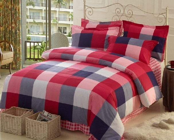 Hot Sale-2013 New  100% cotton printing& slanting stripe bedding sets -4 PCS  Free shipping!