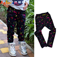 2017 Kids Girls Jeans Graffiti Pencil Pants For Girls Clothing Children Denim Trousers7 8 9 11