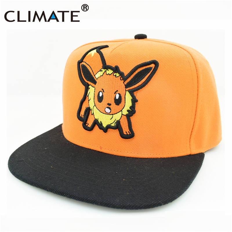 CLIMATE 2017 Pocket Monster GO Game Pikachu Flat Snapback Caps Adult Men Women Animation Cartoon Cute Comic Orange EEVEE Hat Cap climate 2017 pocket monster go game pikachu flat snapback caps adult men women animation cartoon cute comic orange eevee hat cap
