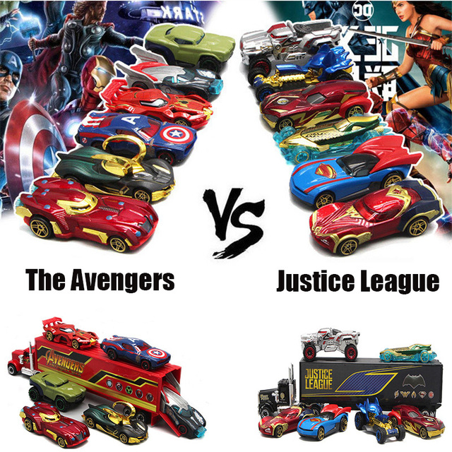 Hot 1:64 Toy Car The avengers VS Justice league Car Alloy Diecast & Toy Vehicle DieCast Car Model Toys For Children