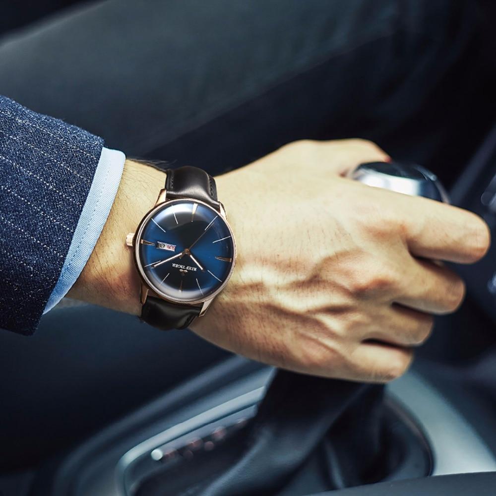 Image 3 - Reef Tiger/RT Luxury Dress Watch Men Genuine Leather Strap Blue Watch Automatic Mechanical Watches Waterproof Date Watch RGA8238tiger brandwatch brandwatch for -