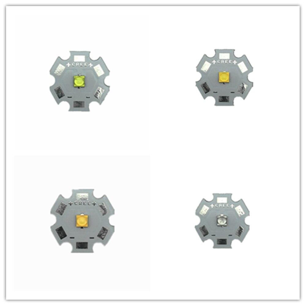 10pcs Cree LED XT-E 1-5W Warm White 3000K Naturally White 4000K Cold White 6000K Royal Blue 445nm LED With20/16/14/12/10/8MM PCB