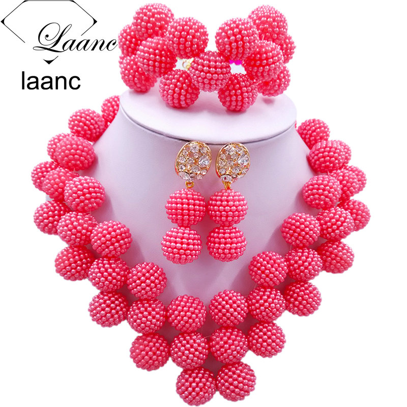 Laanc Latest Coral Color Nigerian Beads Jewelry Set Women African Beads Necklace Bridal Wedding Jewelry Sets JXZ011 ...