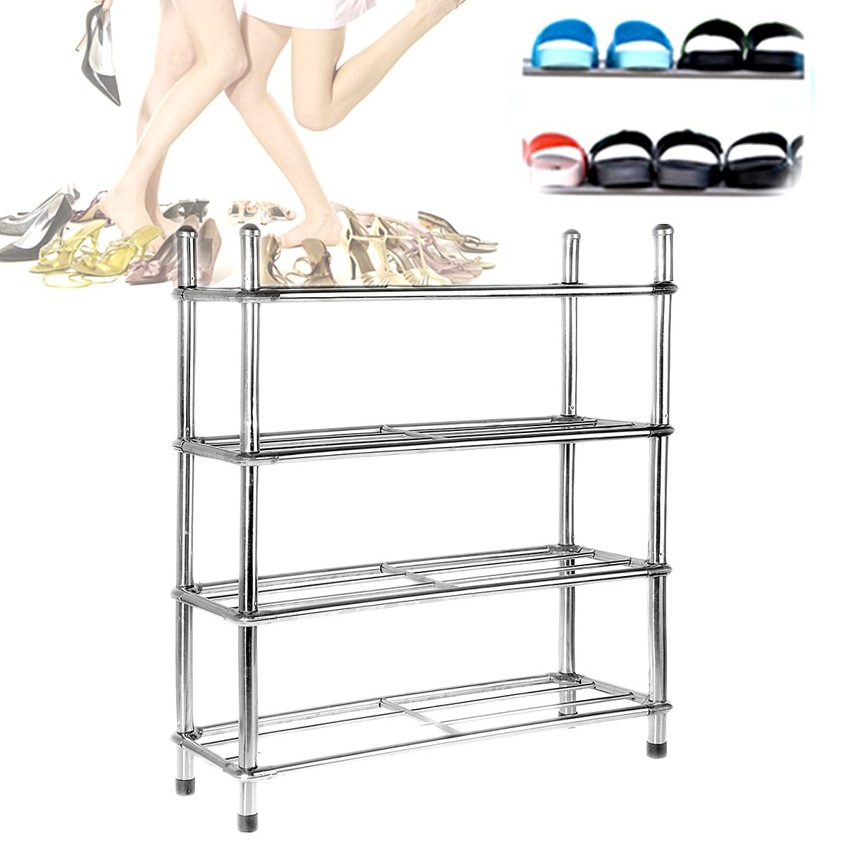 4 Tire Shoe Rack Shelf Home Storage Organizer Closet Portable Multilayer  Combination Dustproof for Cabinet Storage