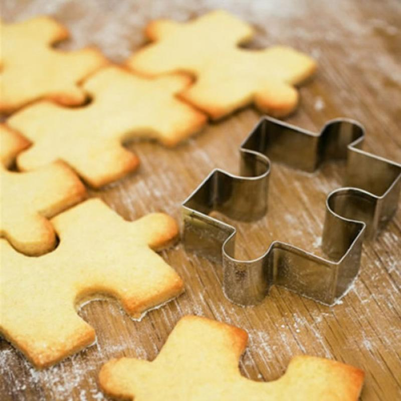 4pcs Stainless Steel Puzzle Piece Cookie Cutter Frame Cake Mold Baking Cookie Biscuit Cutters Sandwich Cutters Cookie Cutter