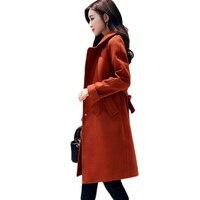 Пальто высокого качества Британский Стиль Тонкий шерстяной жакет Зимнее пальто Для женщин шерстяное пальто карманы темно пряжка кнопку пл