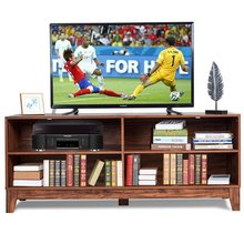 "58"" Modern Entertainment Media Center Wood TV Stand MDF Home Living Room 4 Storage Shelves Non-slip Mat Tv Stand Table HW60356(China)"