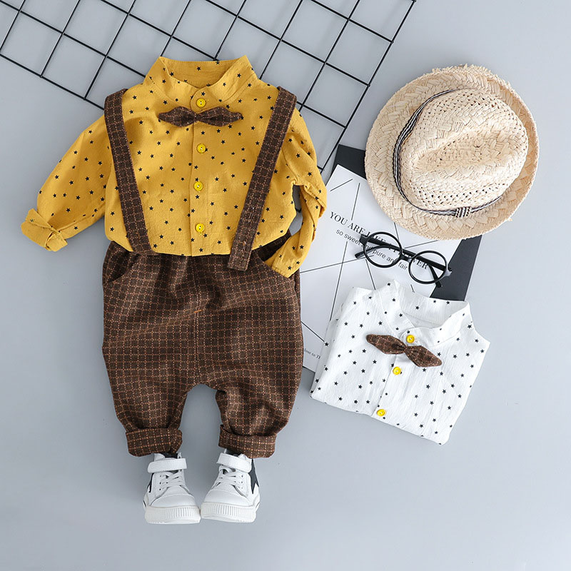 Toddler Children Clothes Suits Baby Clothing Boy Sets Shirt+Pants 2pcs 2019 Autumn Gentleman Style Kids clothes Infant Costume