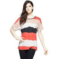 T-Shirt Women Casual Style Tops 2017 Summer New Striped Print Sexy O Neck Short Sleeved Loose Women Tee Shirt Plus Size 4XL 5XL