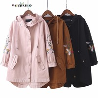 4XL Slim Irregular Trench Coat Autumn New Fashion Loose Long Section Cotton Linen Stitching Embroidery Hooded Windbreaker Coats
