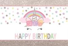 Laeacco Silver Unicorn Party Backgrounds Rainbow Happy Baby Birthday Polka Dots Photography Backdrops Photocall Photo Studio