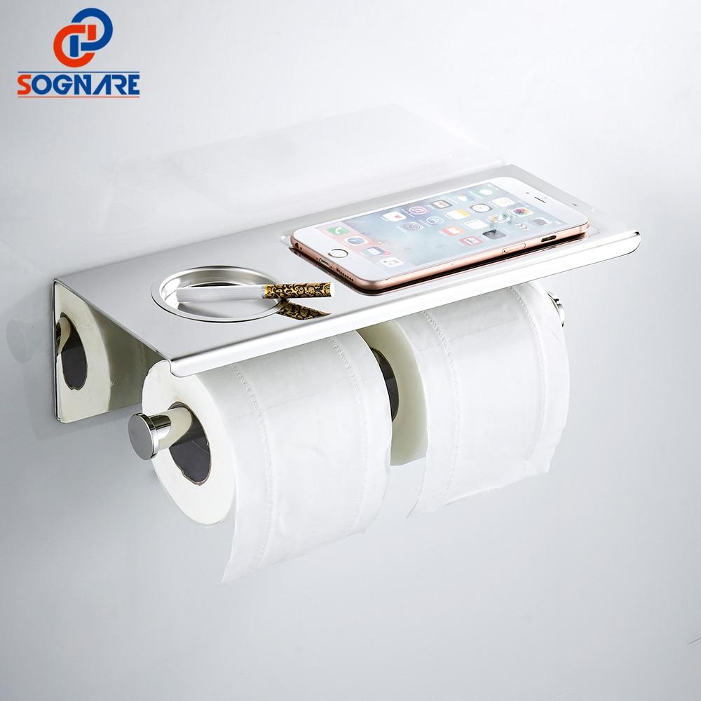 SOGNARE Stainless Steel Paper Holders with Ashtray Shelf Bathroom Shelves Single Roll Toilet Paper Holders Bathroom Accessories недорго, оригинальная цена