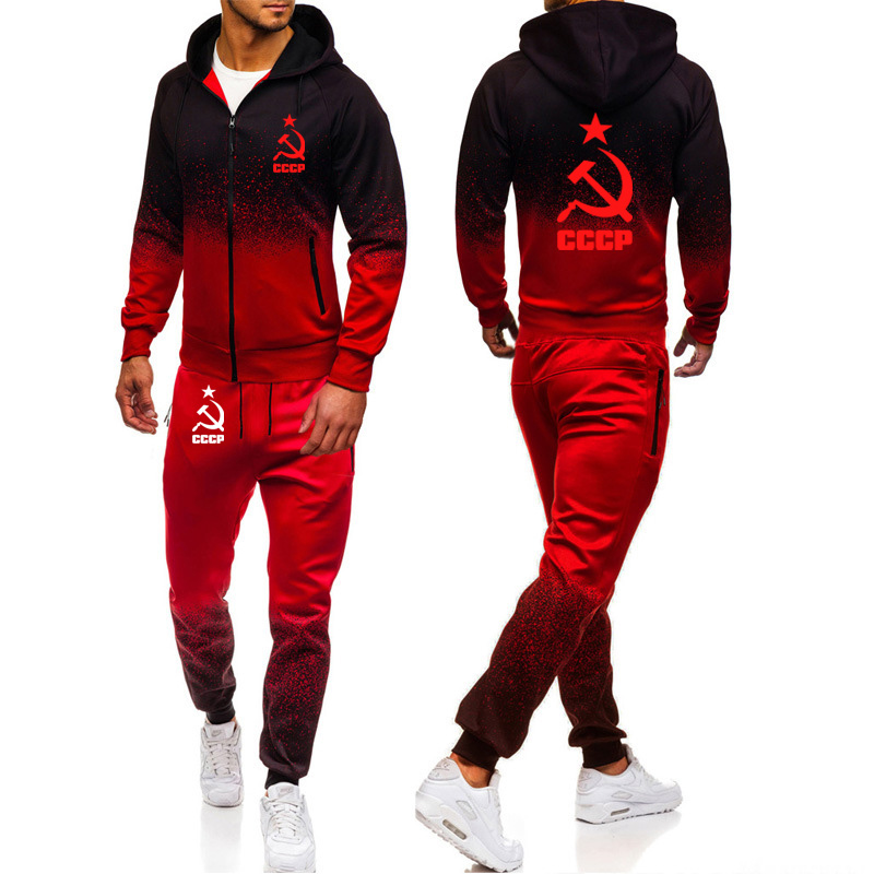 Winter Autumn Warm Tracksuit Men Hoodie Sweatshirt Jacket+sweatpants Suit Unique CCCP Russian USSR Soviet Union Print Sportwear