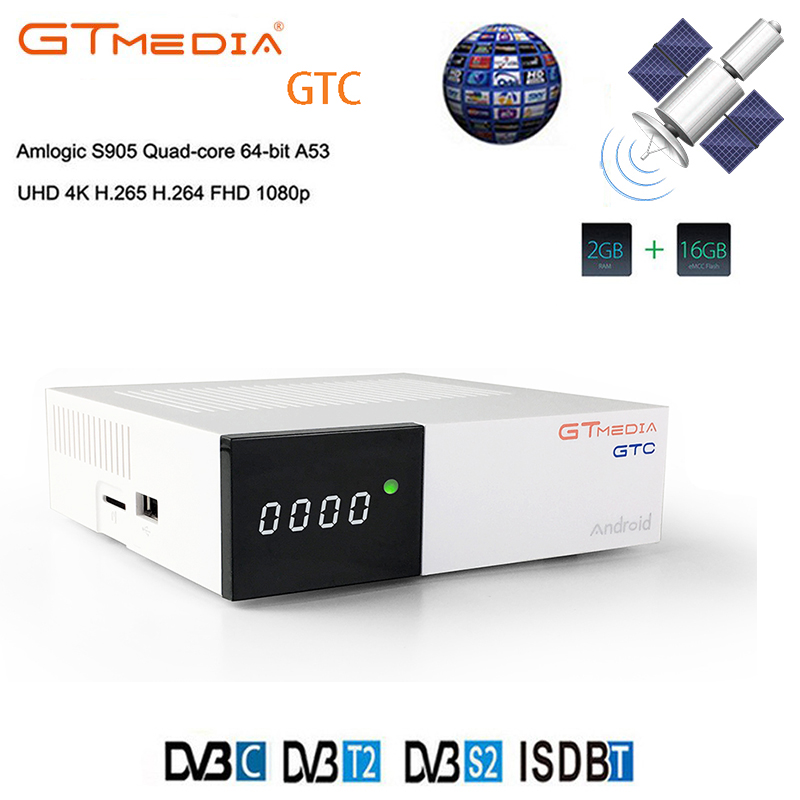GT MEDIA DVB-T2 DVB S2 GTC Receptor Satellite Decoder +USB WIFI HD 1080p BISSkey Powervu 4K Satellite Receiver TV Box freesat hellobox gsky v7 5pcs hd powervu autoroll iks ccam dvb s2 receiver tv box better than freesat support tandberg patch