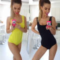European and American Summer Style Fashion Bodysuits Hot Sale Solid Color Sleeveless O-Neck Women Fitness Jumpsuit