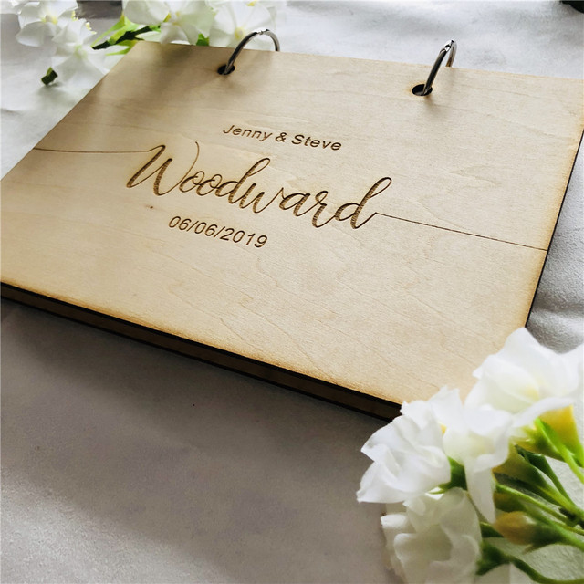 Personalised Wedding Guest Book Rustic Wooden Guest Book Rustic