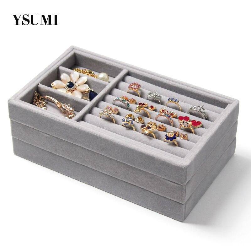 YSUMI Velvet Jewelry Tray Jewelry Display Stand Ring  Earring Jewelry Storage Box  Holder Stand Jewelry Display Organizer
