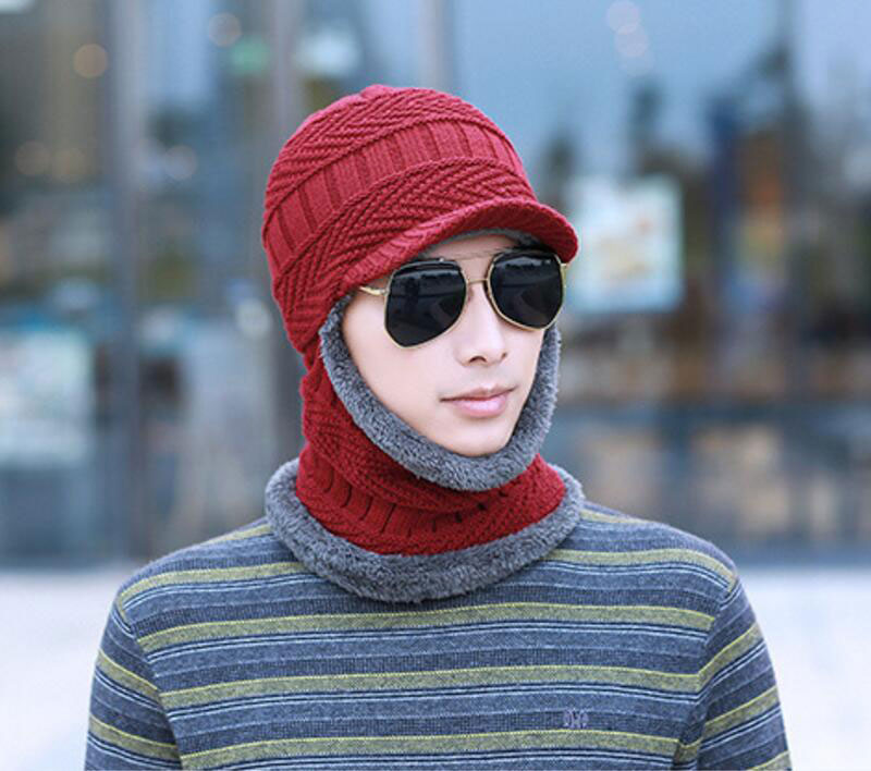 Apparel Accessories Official Website Winter Hat And Scarf Set For Women Men Ring Scarves Cap With Brim Knitted Visor Beanies Balaclava Adult Bonnet Mask Neck Warmer Attractive Appearance