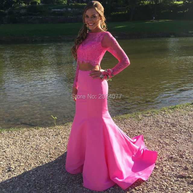 Hot Pink 2 Piece Prom Dresses Long Sleeve Mermaid Prom Dress Long ...