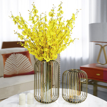 Europe Creative metal Glass flowers vase home decor crafts room decoration parlor candle holder Iron art study ornaments