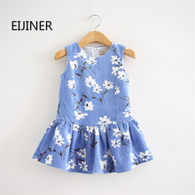 Cotton Girls Dresses Summer Style New 2016 Flower Kids for Children Clothing Sleeveless Girl Dress Clothes