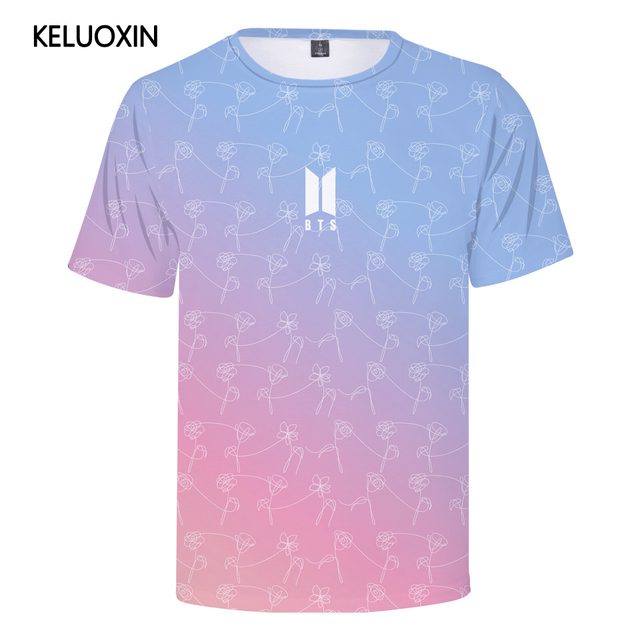 9456446dcf18 KELUOXIN Kpop BTS Summer T Shirt Cartoon Avatar 3D Print T-Shirt Women Men  Bangtan Boys Love Yourself Short Sleeve Cotton Top